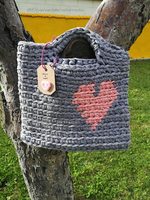 bolso trapillo corazón gris