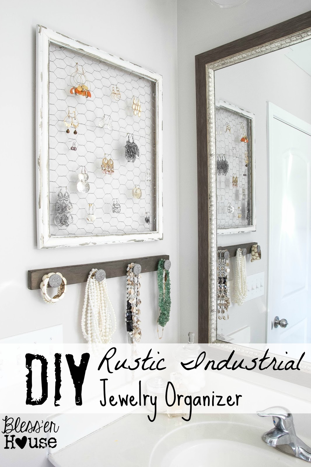 DIY Rustic Industrial Jewelry Organizer {via Bless'er House}