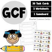 Greatest Common Factors GCF Task Cards