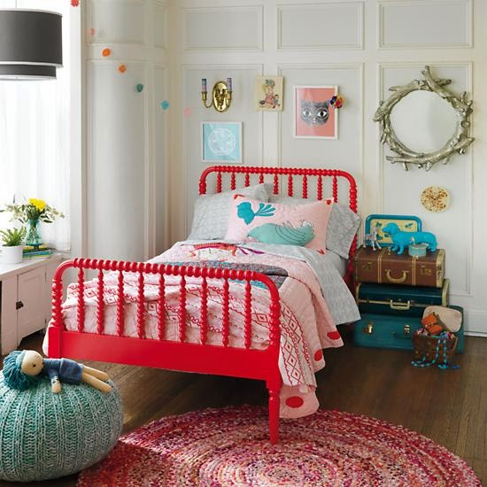 red spindle bed girl room