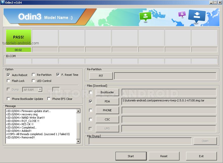 ODIN : flasher TWRP sur GT-N7100