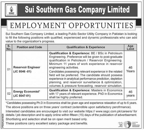 sui-southern-gas-company-ssgcl-jobs-2021-karachi