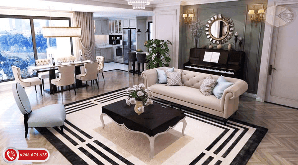 Phòng khách căn hộ Dual Key AMber Riverside