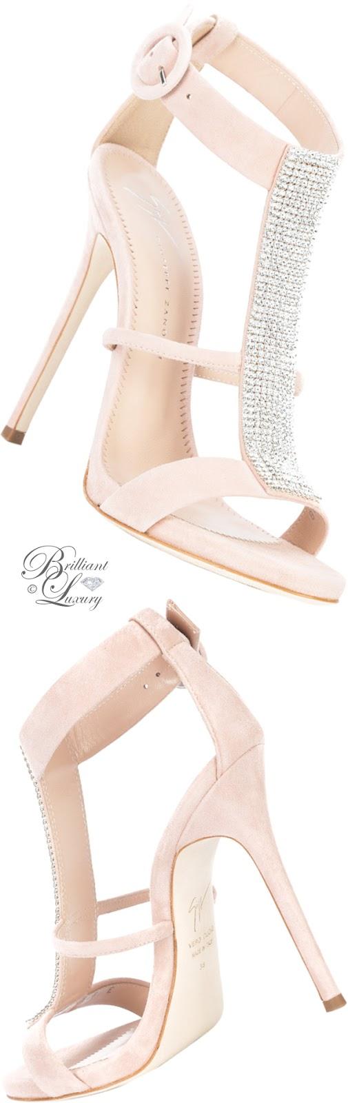 Brilliant Luxury ♦ Giuseppe Zanotti rhinestone embellished T-bar sandals