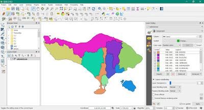 Layer Administrasi Bali dalam tampilan warna yang di kategorikan