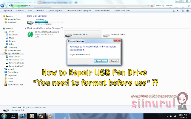 Tutorial How to Repair USB Pendrive You need to format before use