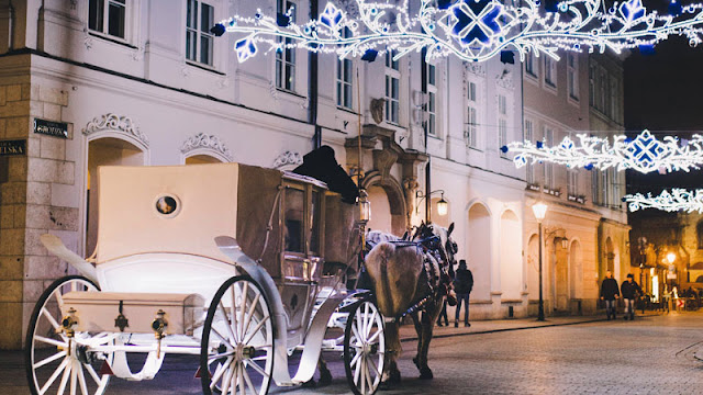 horse-drawn carriage beneath holiday lights