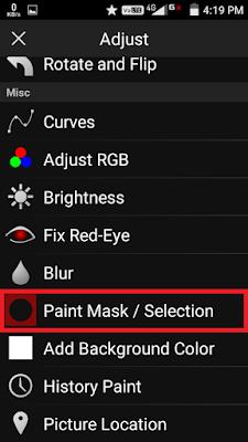 """Geser kebawah,klik Opsi """"Paint Mask/Selection""""."""