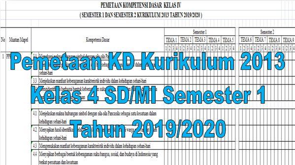 Pemetaan KD Kurikulum 2013 Kelas 4 SD/MI Semester 1 Tahun 2019/2020 - Homesdku