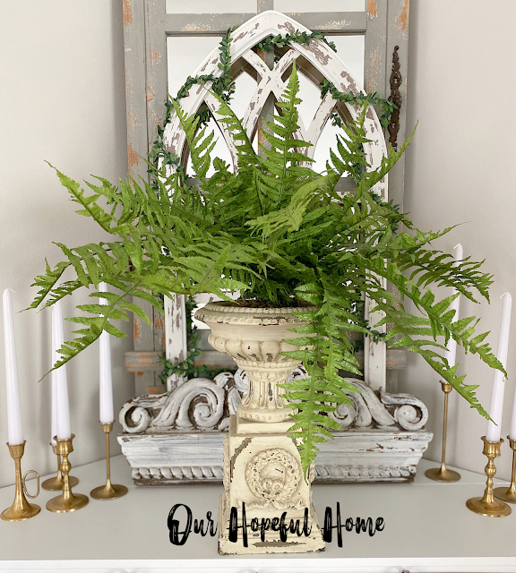 faux Boston fern plant urn planter
