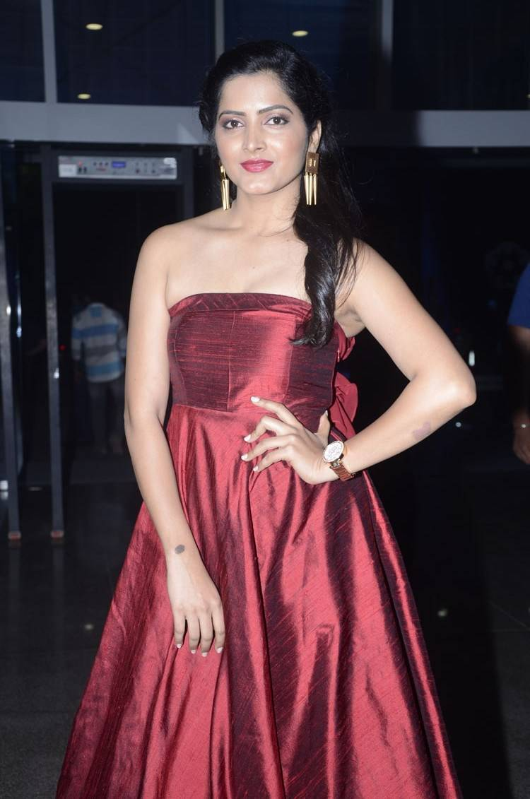 Tollywood Actress Pavani Hot In Long Maroon Gown At Ladies Club Event