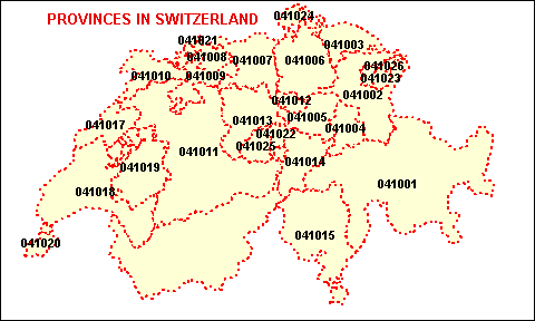 Switzerland Map with Provinces