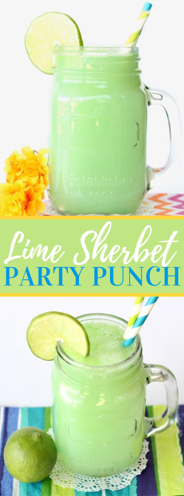 Lime Sherbet Party Punch Recipe! {3 Ingredients} #drinks #partydrink