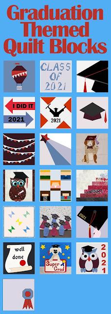 Graduation themed quilt blocks
