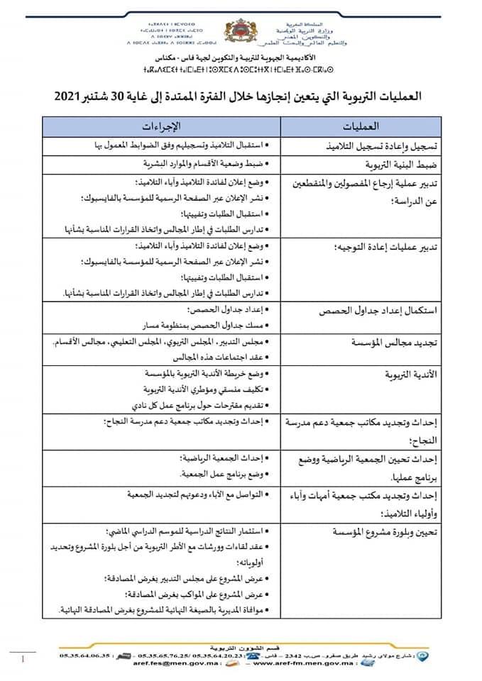العمليات التربوية التي يتعين انجازها خلال الفترة الممتدة الى 30 شتنبر 2021
