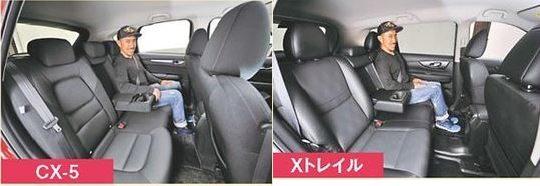 CX-5 エクストレイル 室内後席シートの広さ 比較画像