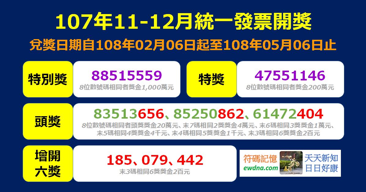 【統一發票】107年11-12月中獎號碼出爐,開放超商/APP兌獎! @ 符碼記憶