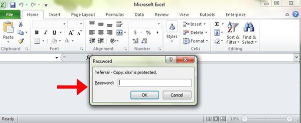 enter Excel password