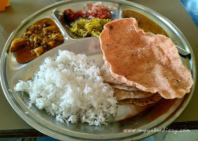Pure veg home cooked thali at GourGeeta pure veg restaurant at Devghar Harihareshwar