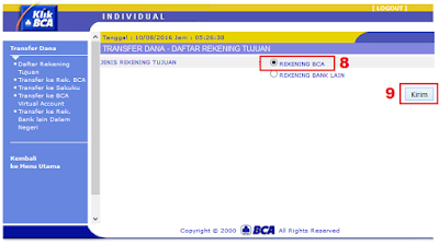 Cara Menambah Daftar Rekening Tujuan di KlikBCA / Internet Banking BCA - Halaman Menu Daftar Rekening Tujuan - Jenis Rekening Tujuan KlikBCA