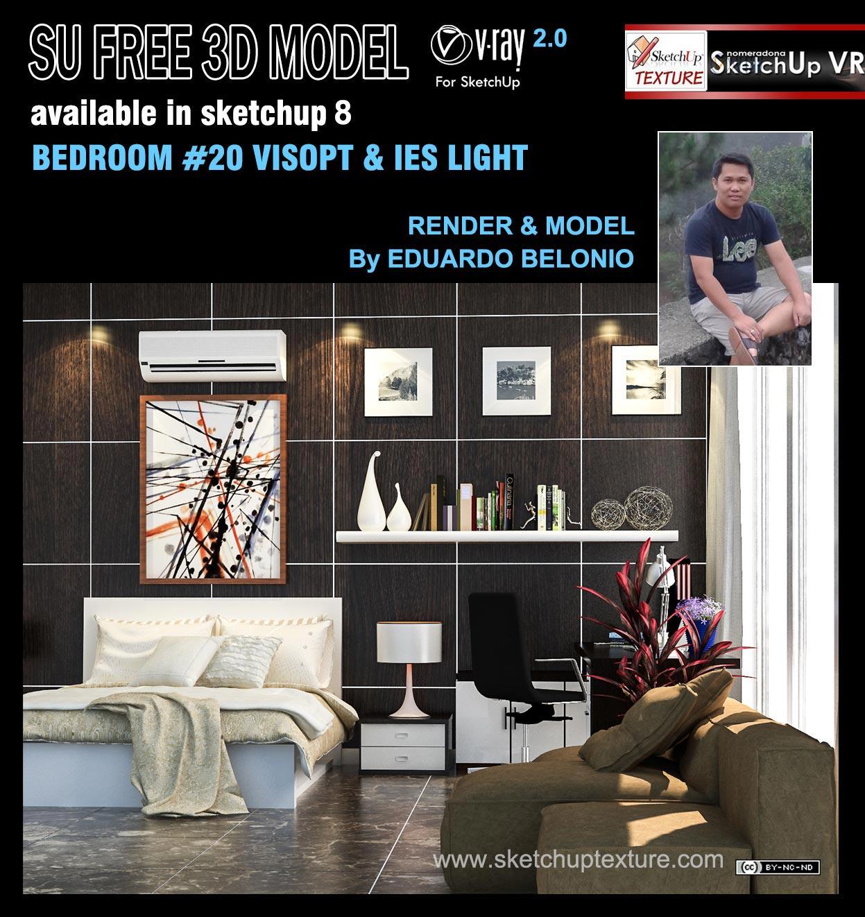 Free sketchup 3d model modern bedroom #20 & Visopt ...