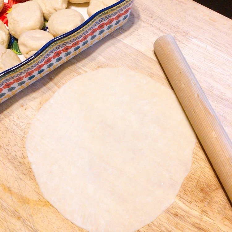 Flour tortilla dough, with dough balls