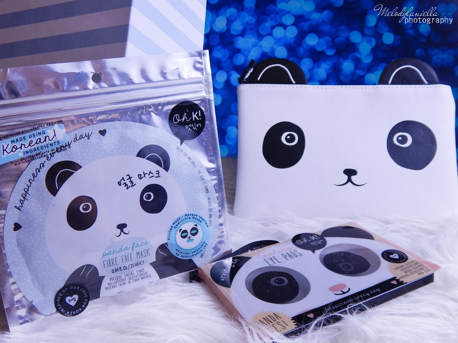 2 Oh! K Life koreańskie kosmetyki i gadżety słodkie dziewczęce dodatki maska do twarzy panda kosmetyczka w kształcie pandy lodowe płatki chłodzące okłady na oczy przeciw sińcom jak pozbyć się sińców pod oczami