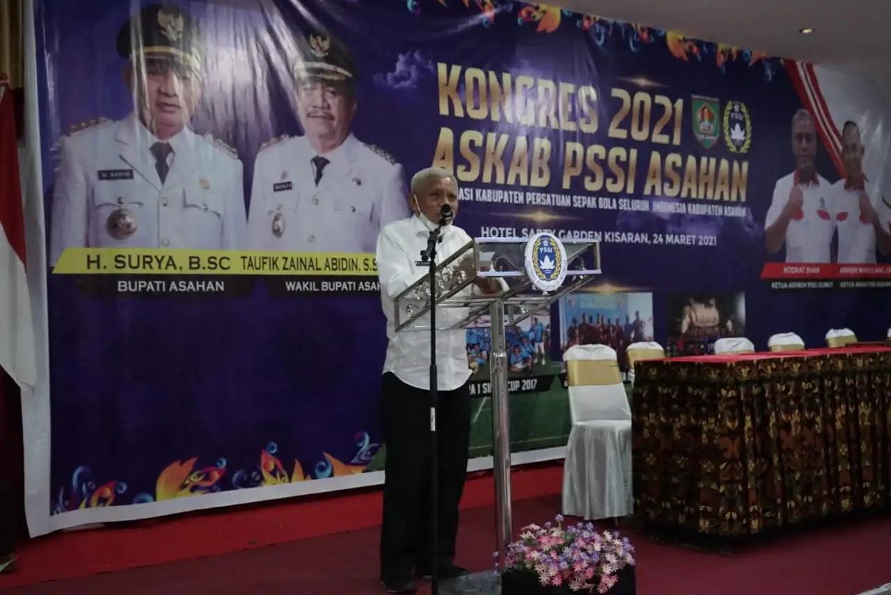 Bupati Asahan Resmi Menutup Kongres ASKAB PSSI Asahan Periode 2021-2025
