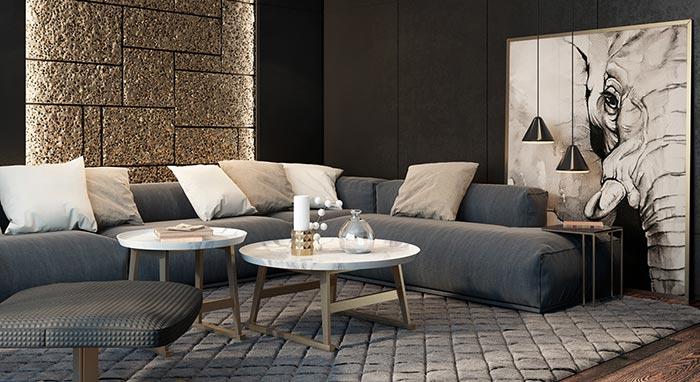siyah endüstriyel tasarım oturma odası dekorasyonu
