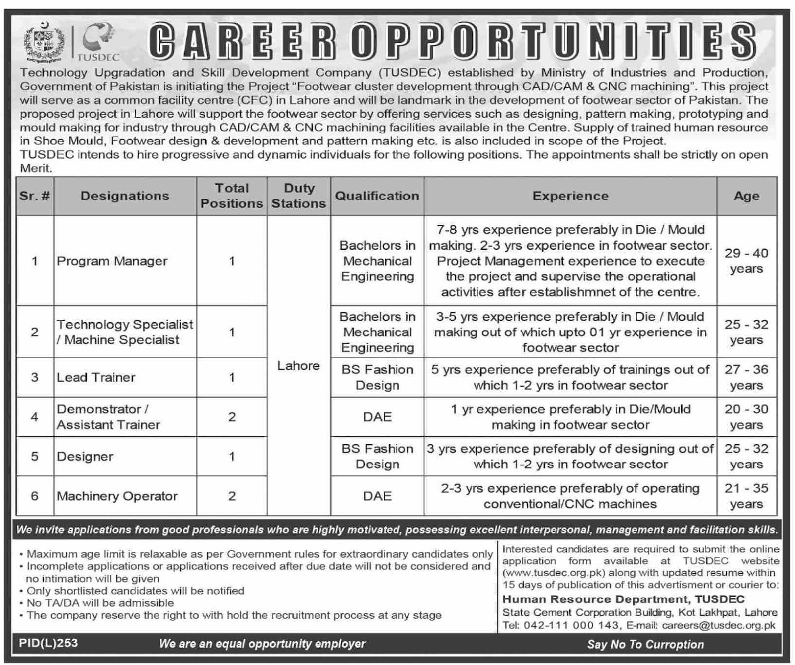 Advertisement for TUSDEC Jobs