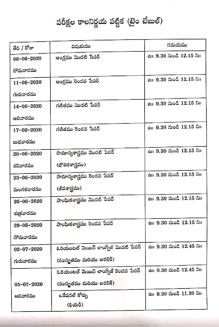 TS SSC(10th Class) Annual Examinations-2020 Revised Time Table