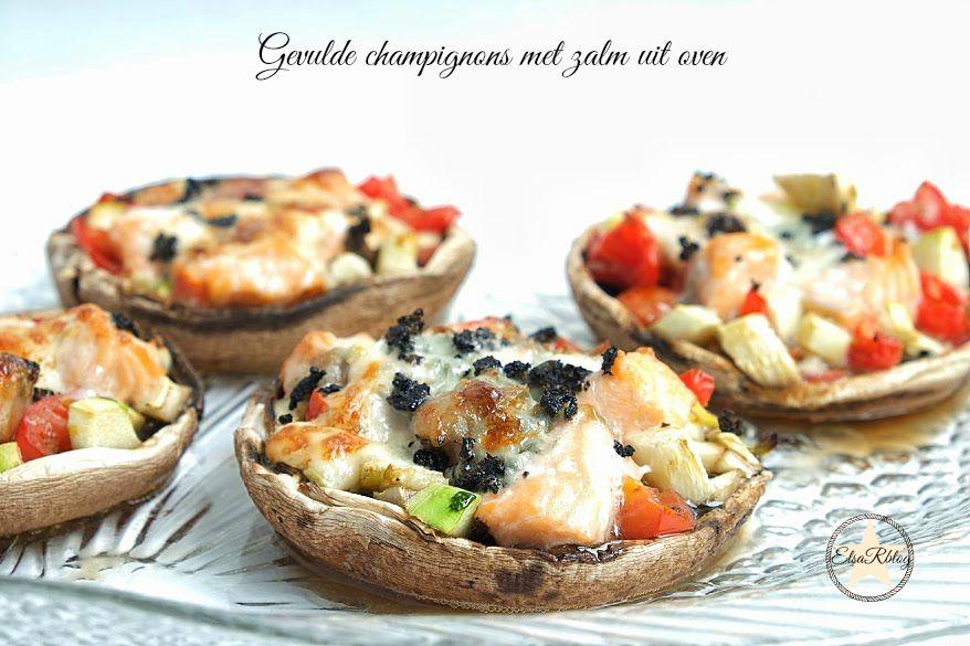 Gevulde champignons uit de oven met zalm en gorgonzola - Voorgerecht