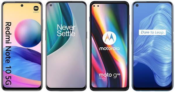 Xiaomi Redmi Note 10 5G vs OnePlus Nord N10 5G vs Motorola Moto G 5G Plus vs Realme 7 5G