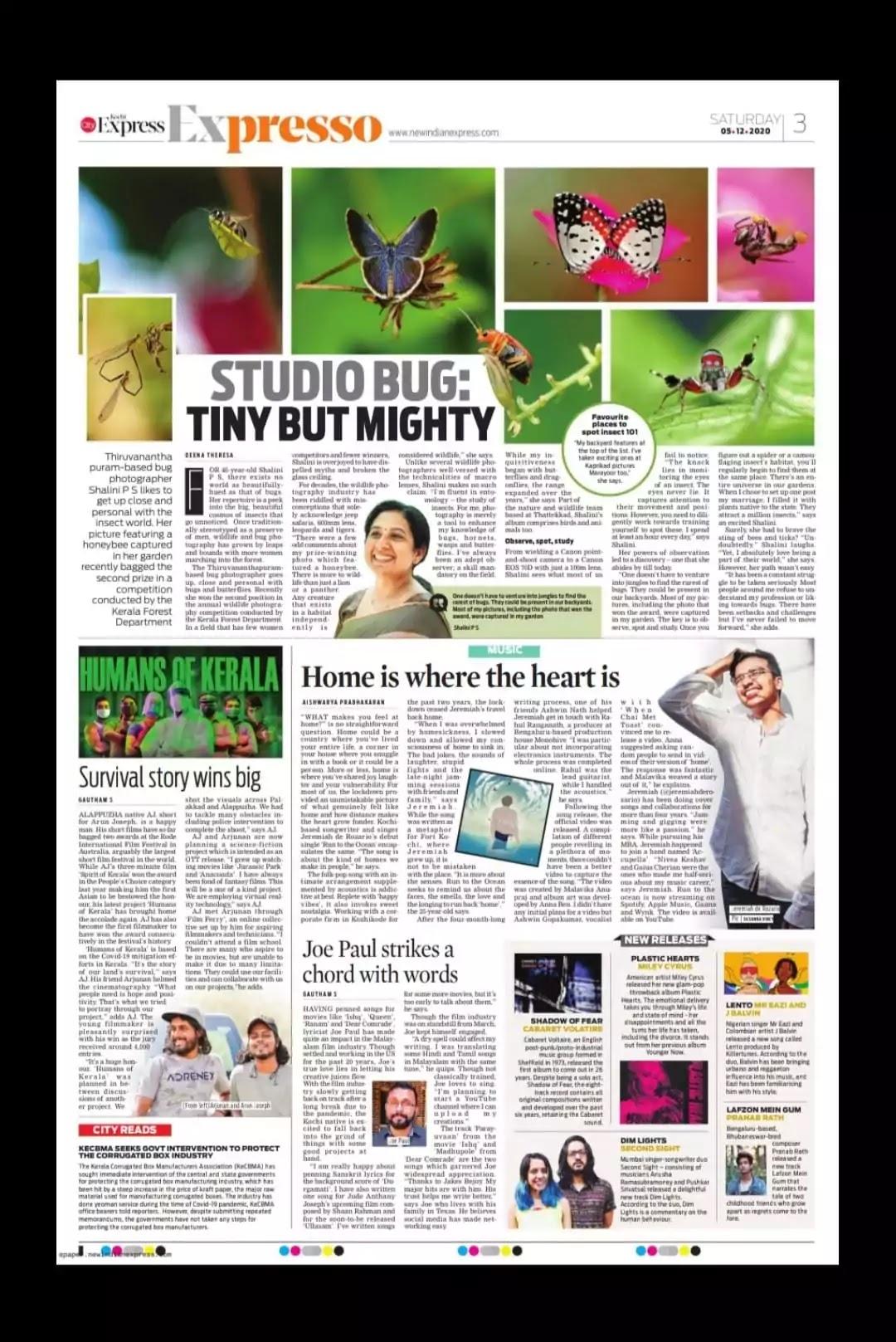Shalini Binu featured in New Indian Express