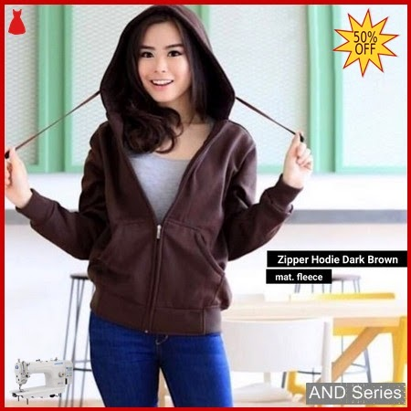 AND396 Jaket Wanita Zipper Hoodie Dark Brown BMGShop