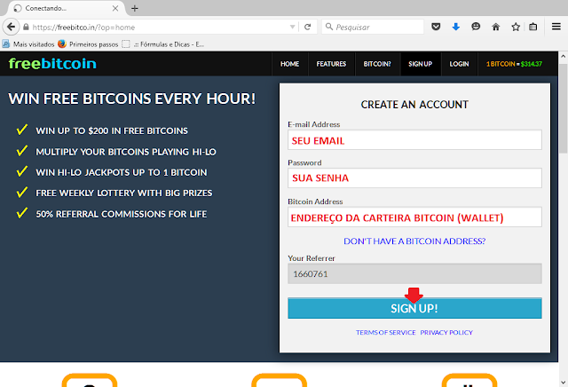 Tutorial de como ganhar bitcoin | Free Bitcoin Apertando um Botão