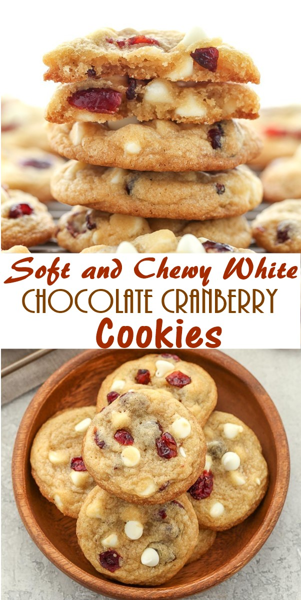 Soft and Chewy White Chocolate Cranberry Cookies #cookiesrecipes