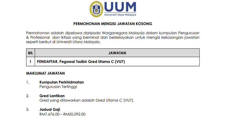 Kekosongan Terkini di Universiti Utara Malaysia (UUM)