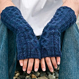 worsted weight, cabled fingerless mitts