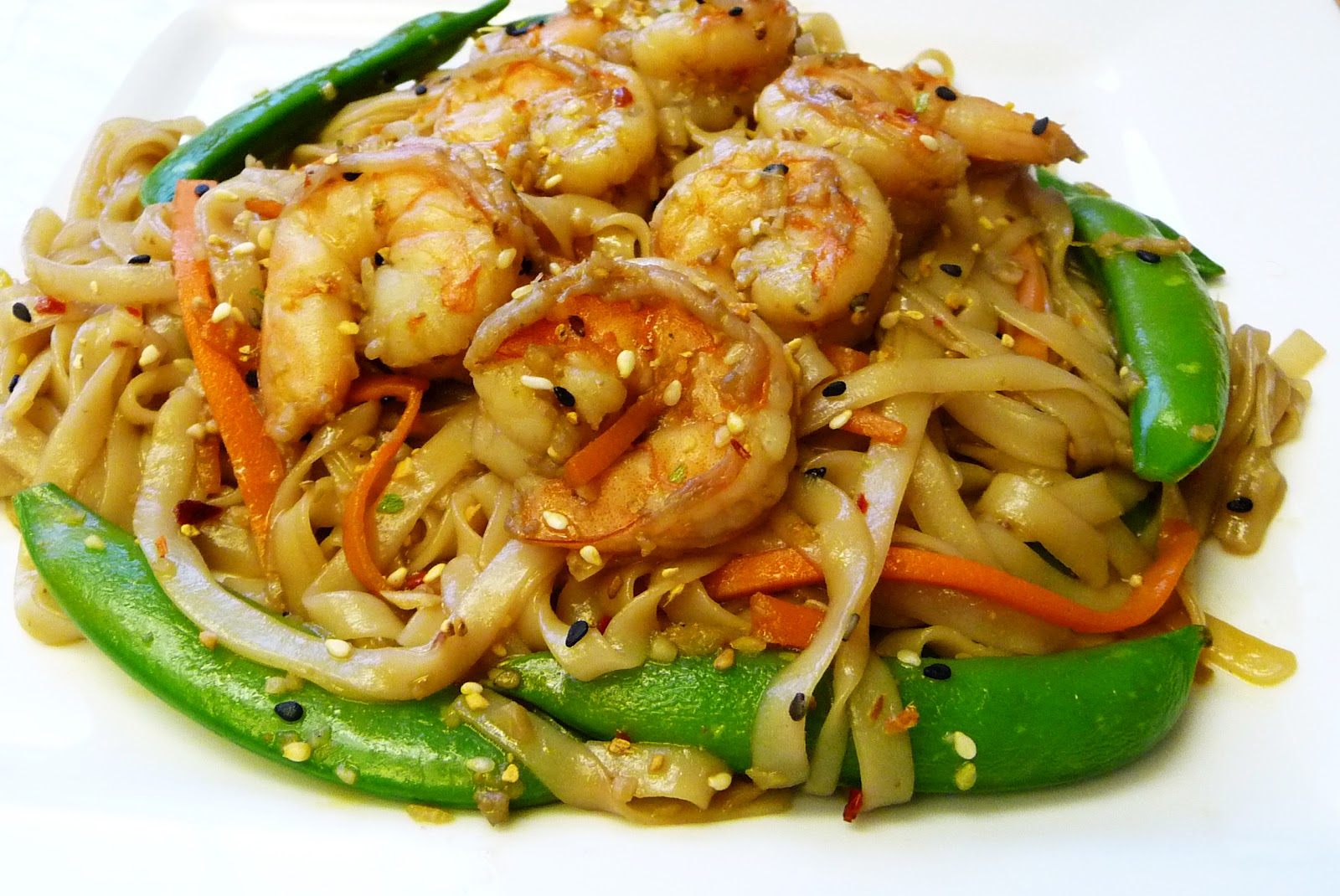 Asian rice noodles stir-fry