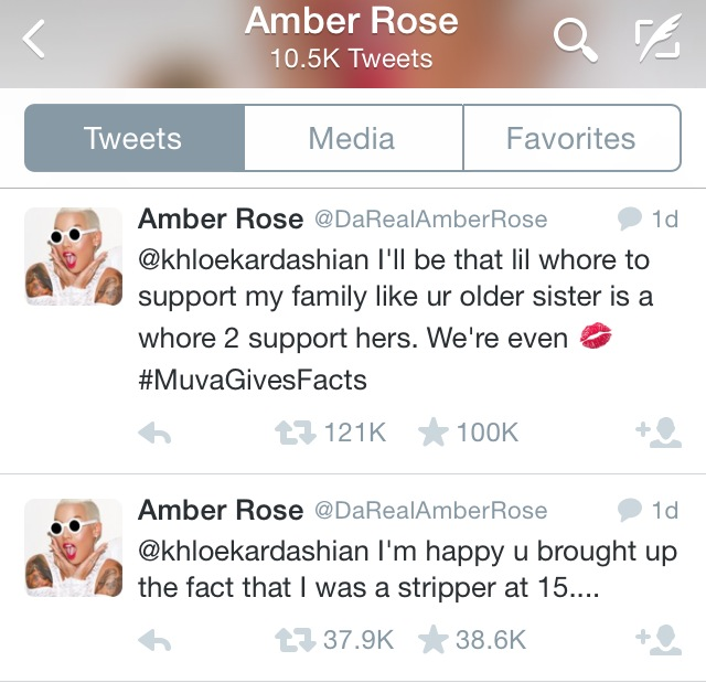 Amber rose saying negative things to her family on social media