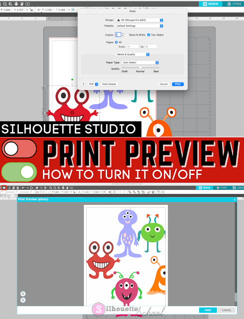 silhouette school blog, silhouette 101, silhouette studio print preview, print and cut, printable material