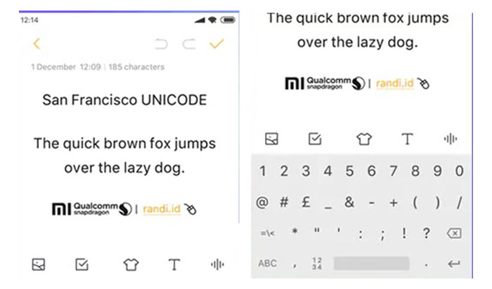 Font Sans Francisco Mtz Support Unicode Untuk HP Xiaomi