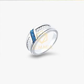 nhẫn vàng nam mặt đá xanh