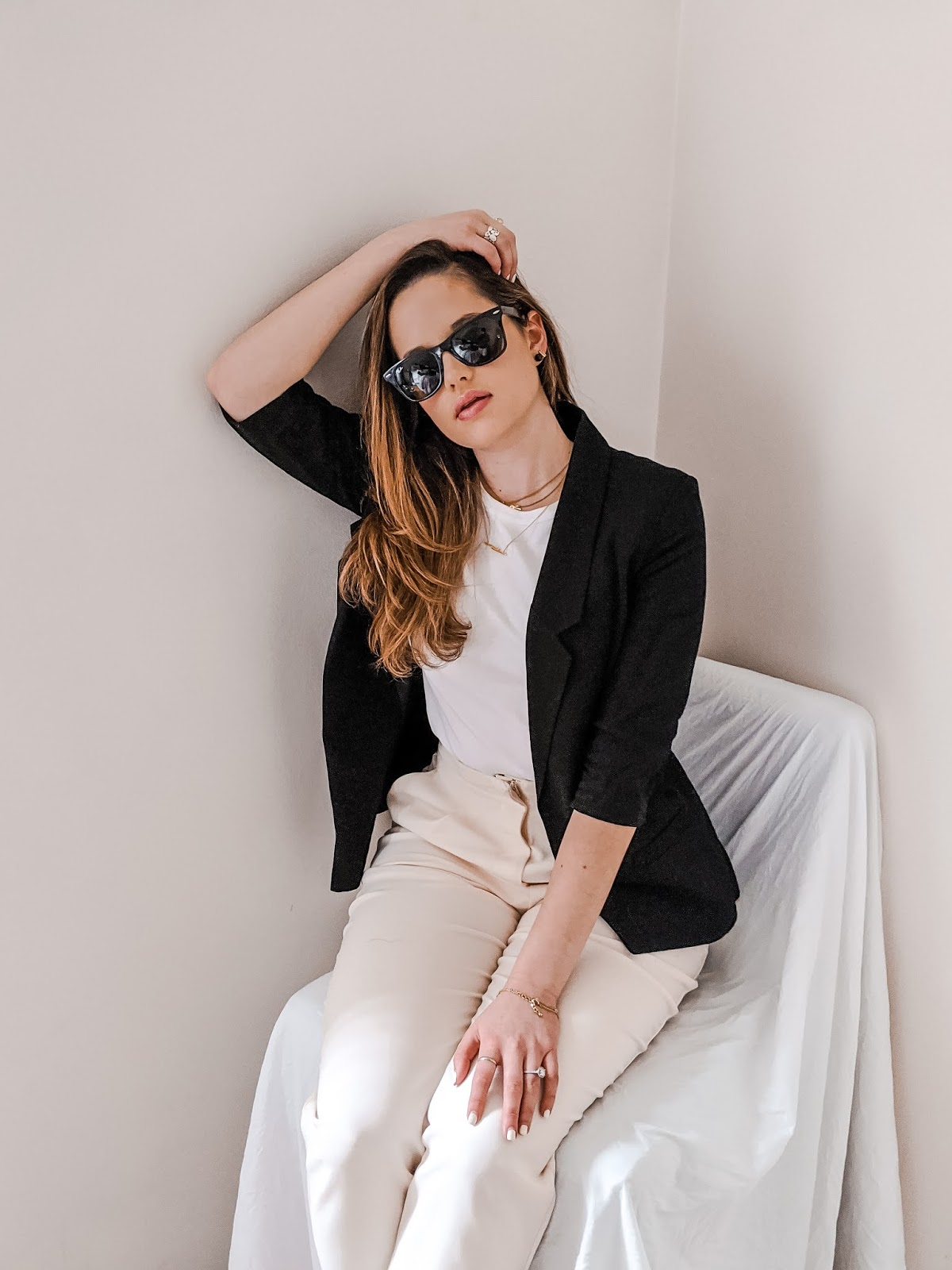 Nyc fashion blogger Kathleen Harper wearing a neutral spring outfit.