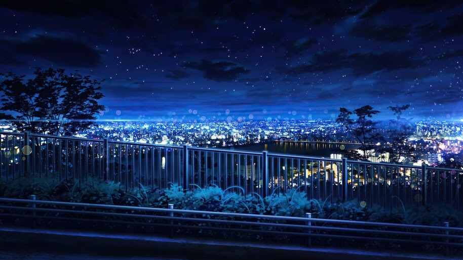 Night, Sky, City, Anime, Scenery, 4K, #6.2599