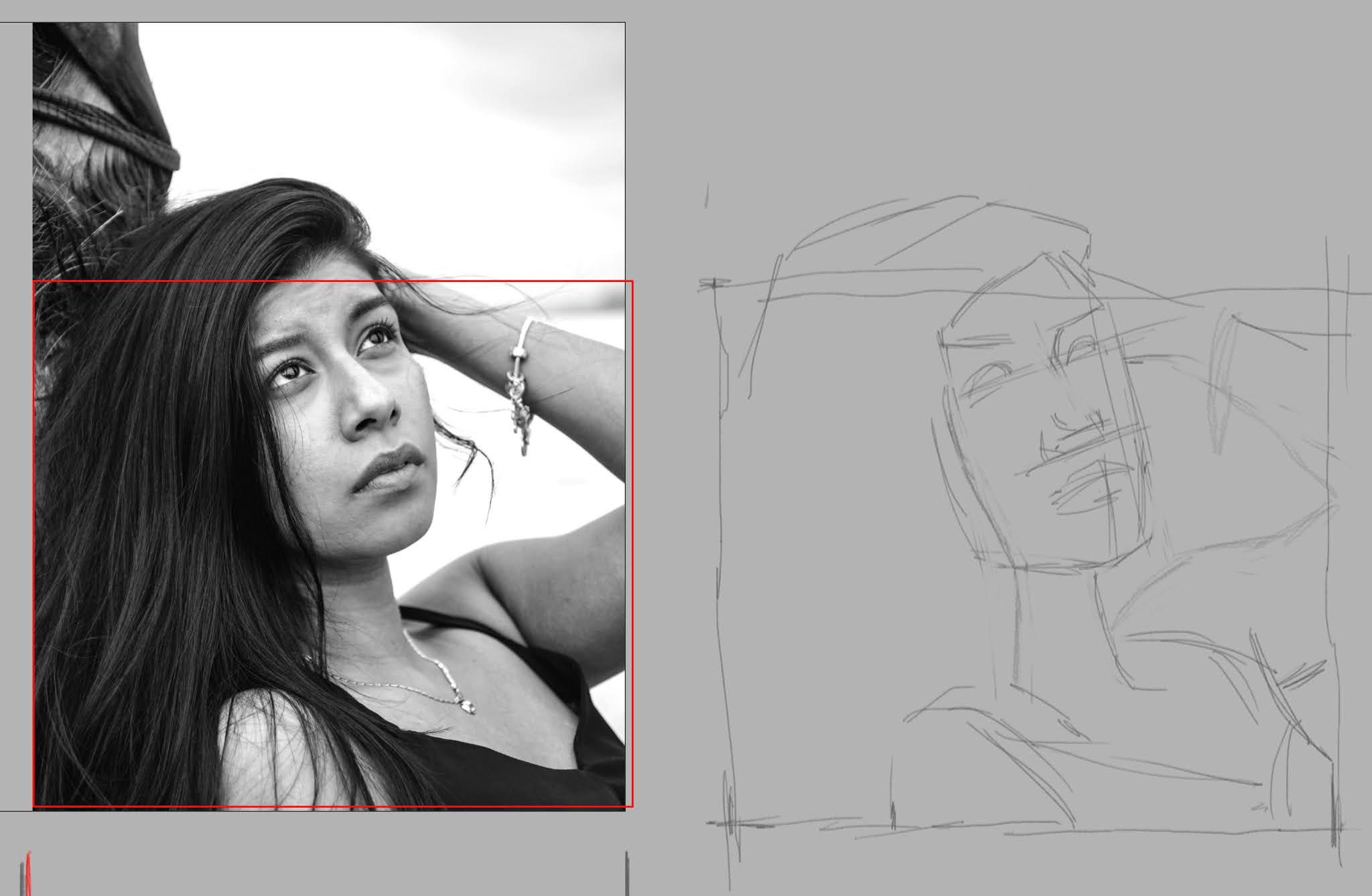 Volto di ragazza disegnato a matita, con forme solo abbozzate