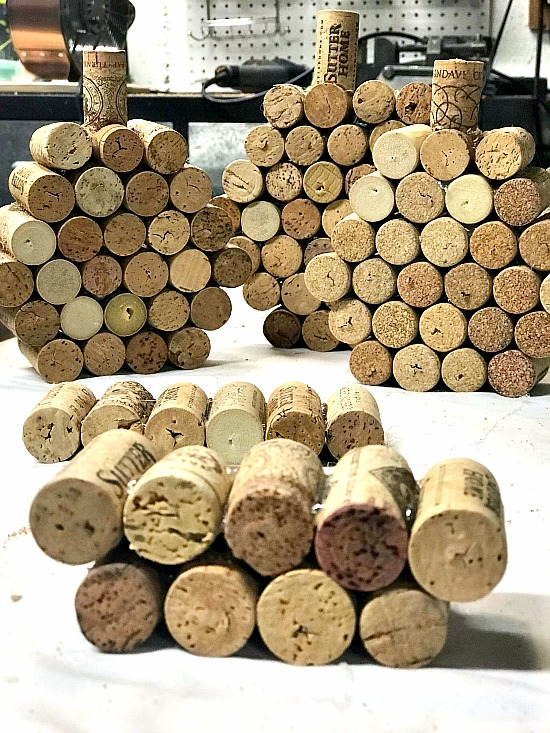 Many cork pumpkins in process.