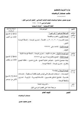 توزيع منهج الرياضيات للصف الثالث الإبتدائي لعام 2021