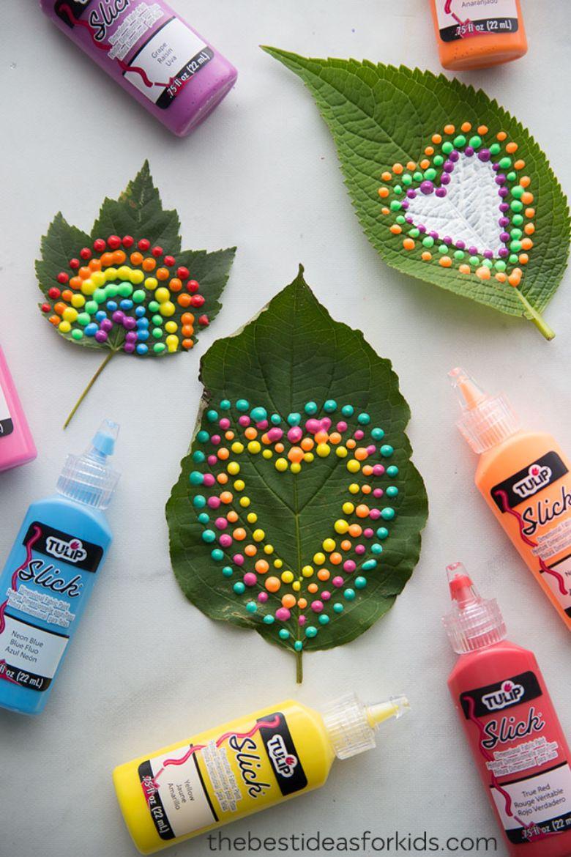 puffy paint leaf craft